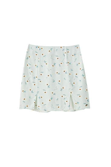 Aquamarine floral print mini skirt with slits