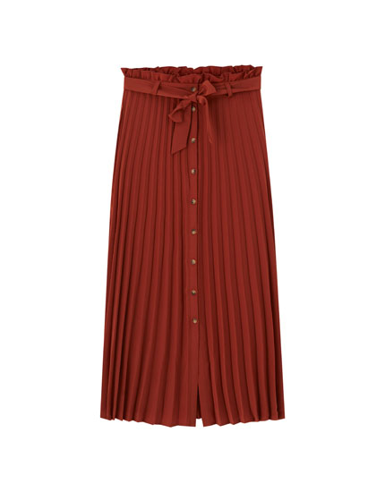 Pleated midi skirt with bow detail