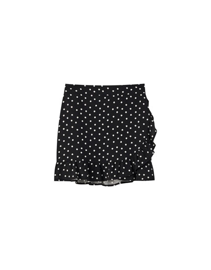 Wraparound mini skirt with ruffles