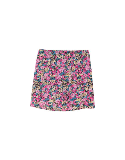 Floral print mini skirt with gathered detail