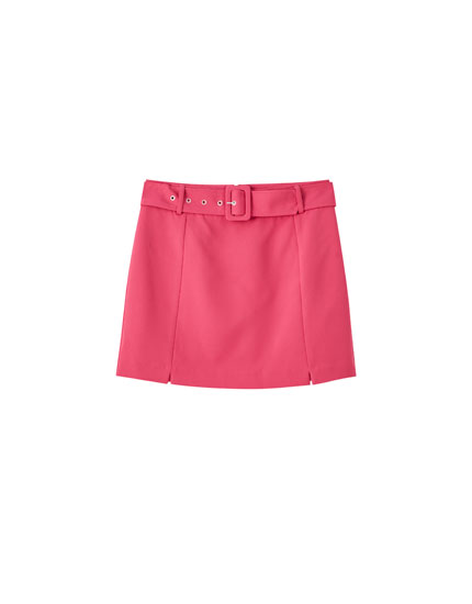 Belted mini skirt with rectangular buckle