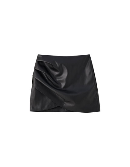 Black faux leather mini skirt with gathered detail