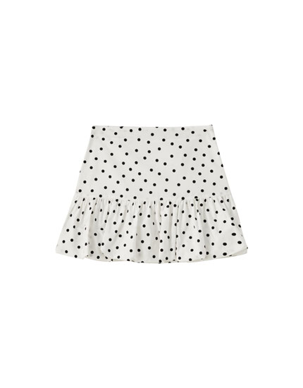 Balloon fit polka dot mini skirt