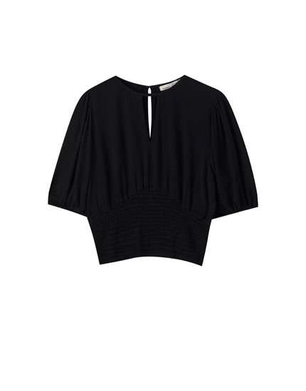 Viscose blouse with shirred detailing