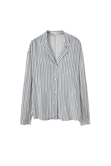 Basic shirt with pyjama-style collar