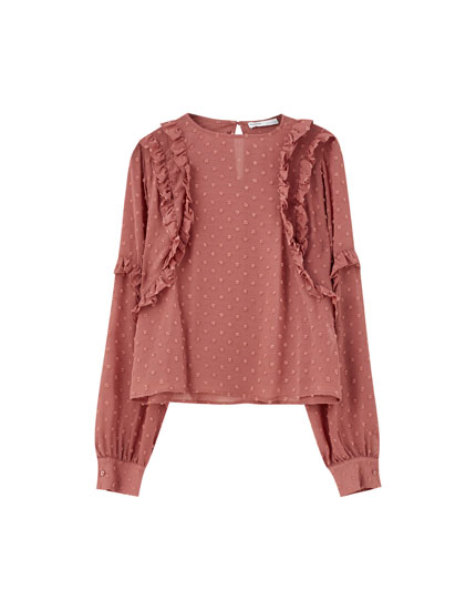 Pink dotted mesh blouse with ruffles