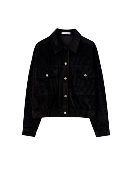 Black corduroy shirt with snap buttons