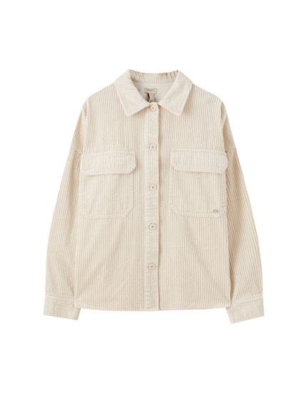 Beige corduroy overshirt