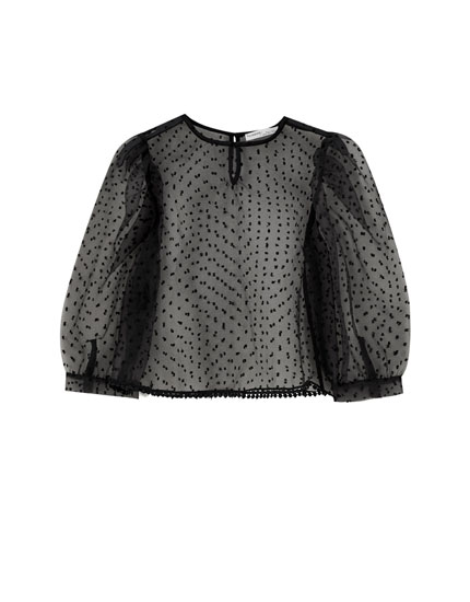 Dotted mesh blouse with voluminous sleeves