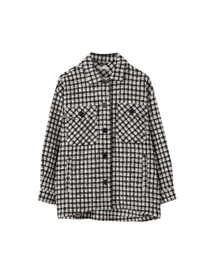 Two-tone tweed overshirt