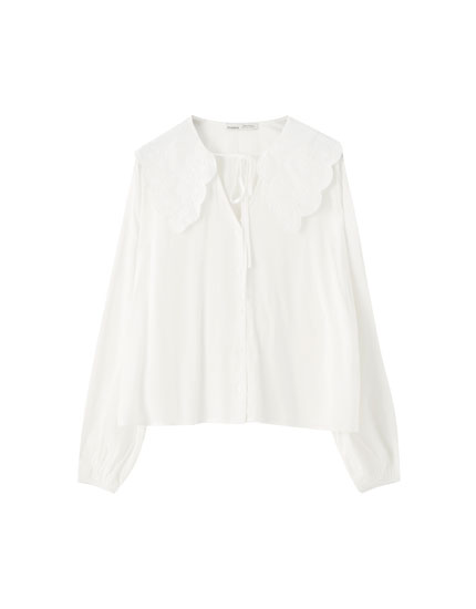 White shirt with peter pan collar