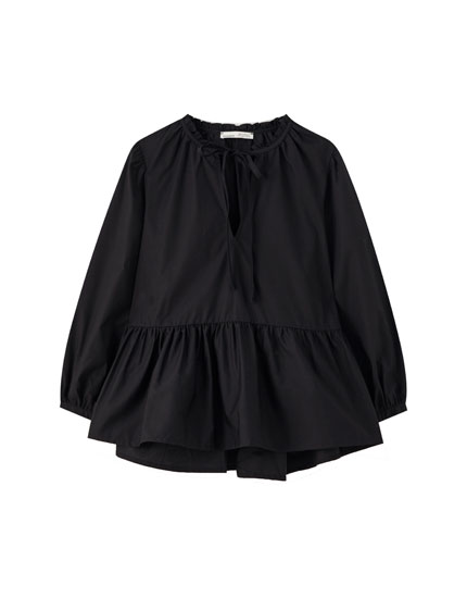 Ruffled black poplin T-shirt