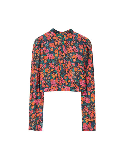 Floral print mock neck blouse