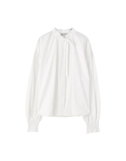 Poplin shirt with puff sleeves