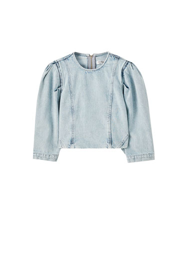 Denim balloon sleeve top