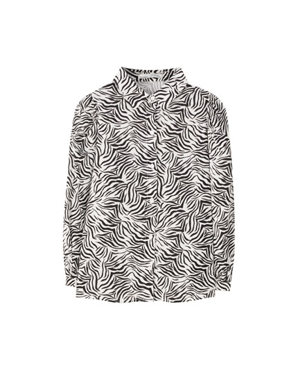 Shirt with zebra print