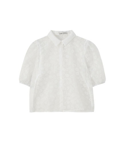 Organza shirt with white daisies