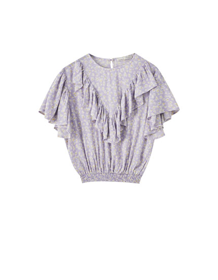 Printed lilac blouse with ruffle trim