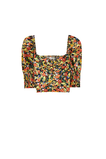 Floral print top with shirred detail