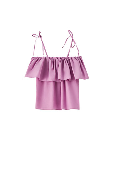 Poplin top with ruffle trim