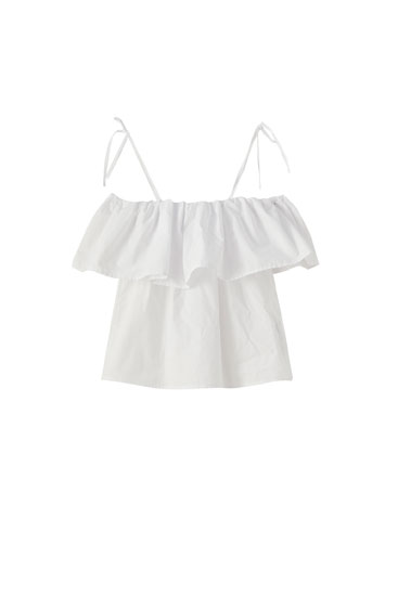 White poplin top with ruffle trim