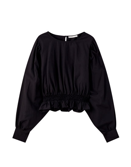 Poplin blouse with voluminous sleeves
