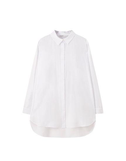 Vestido camisero popelín blanco