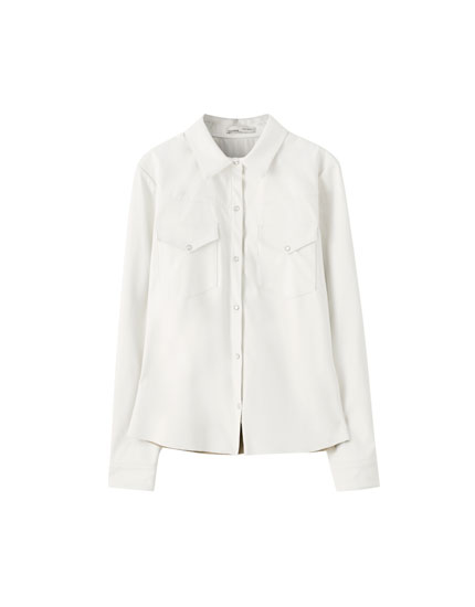 White faux leather shirt