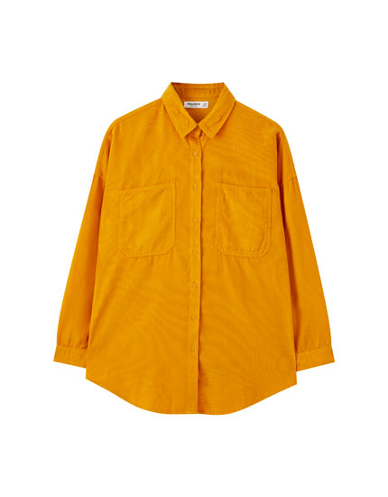 Needlecord shirt with front pockets