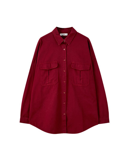 Oversize shirt with flap pockets