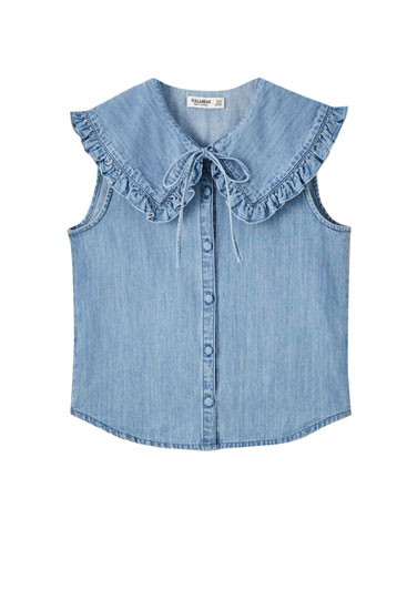 Denim shirt with Peter Pan collar