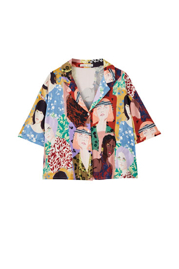 Multicoloured shirt with girl print