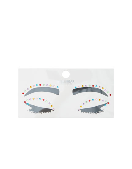 Multicoloured rhinestone face stickers
