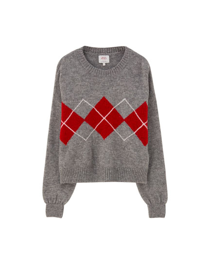 Grey sweater with contrast argyle print