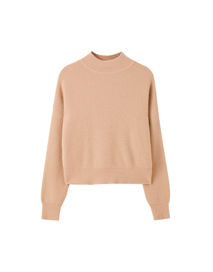 Low-pile faux fur mock neck sweater