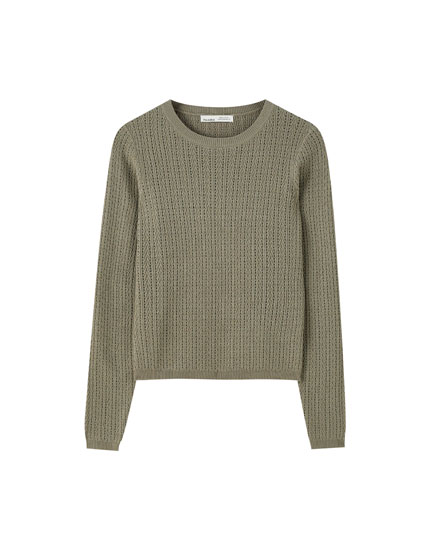 Basic herringbone fabric sweater