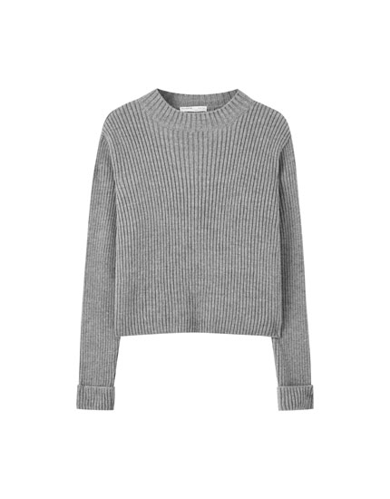 Ribbed sweater with turn-up cuffs