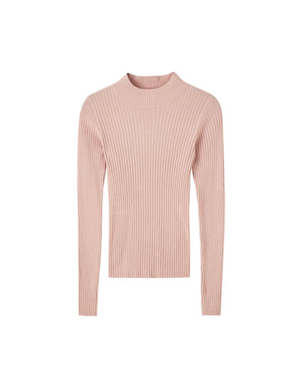 Wide ribbed high neck sweater