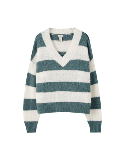 Green stripe print sweater