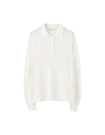 Oversize long sleeve polo shirt