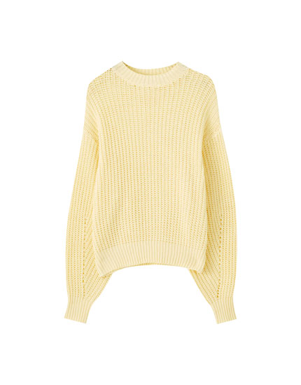 Sweater de malha inglesa com volume