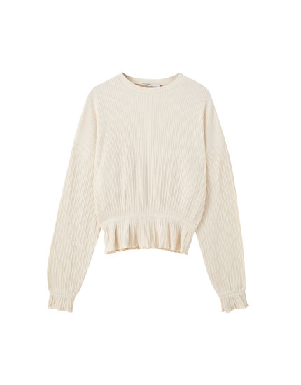 Elasticated ribbed sweater