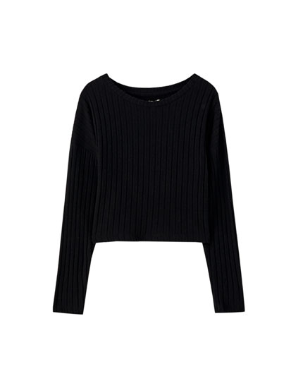 Sweater cropped de cutwork