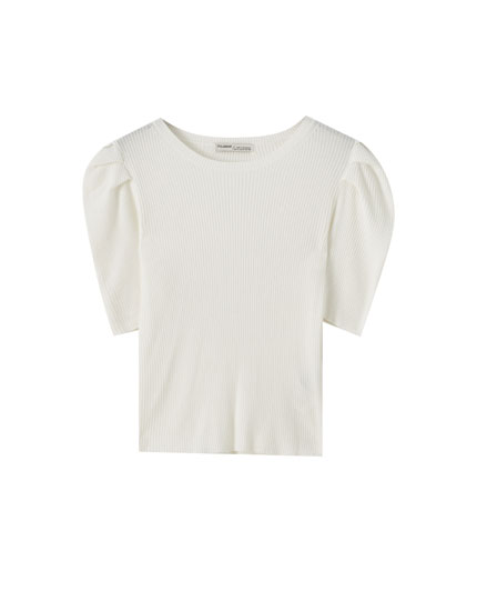 Ribbed short sleeve sweater