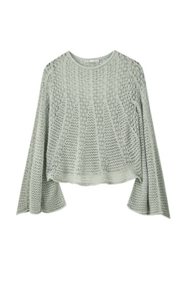 Open knit sweater with flared sleeves