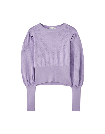 Lilac sweater with puff sleeves