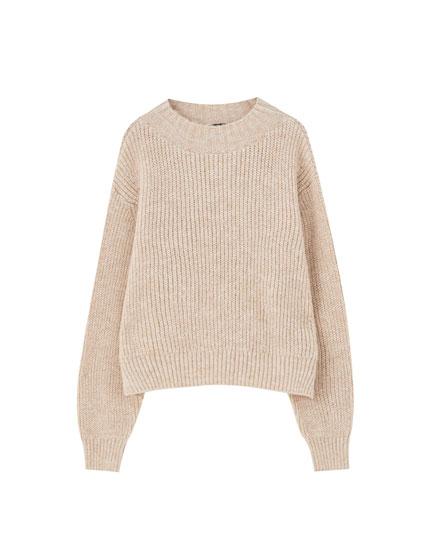 Sand-coloured brioche stitch sweater