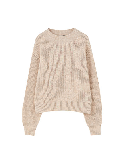 Sand-coloured brioche stitch sweater