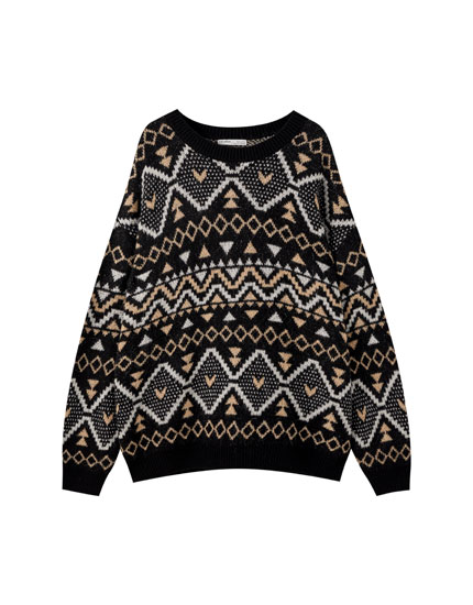 Black jacquard sweater