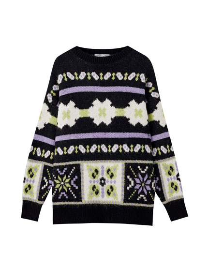 Black printed jacquard sweater